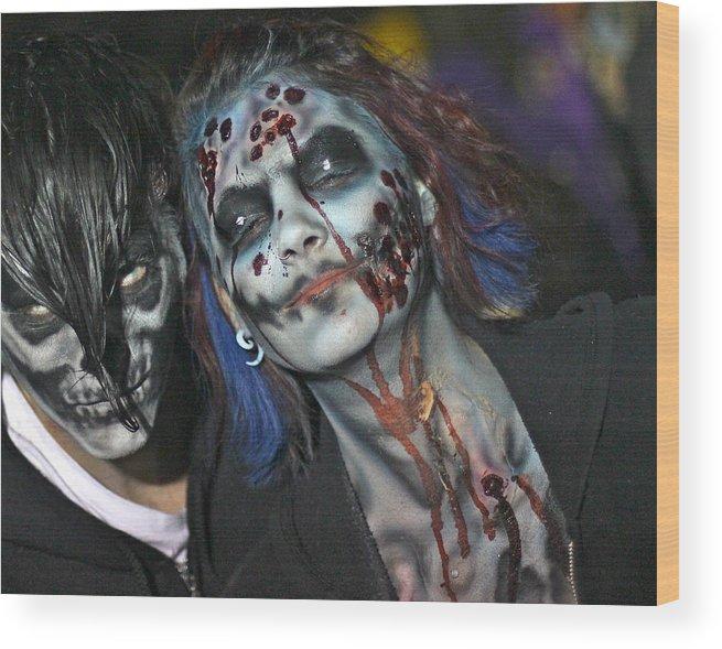 Salem Wood Print featuring the photograph Salem Halloween Makeup by Rick Macomber