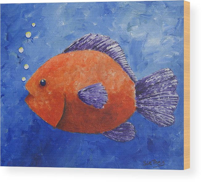 Fish Wood Print featuring the painting Sammy by Suzanne Theis