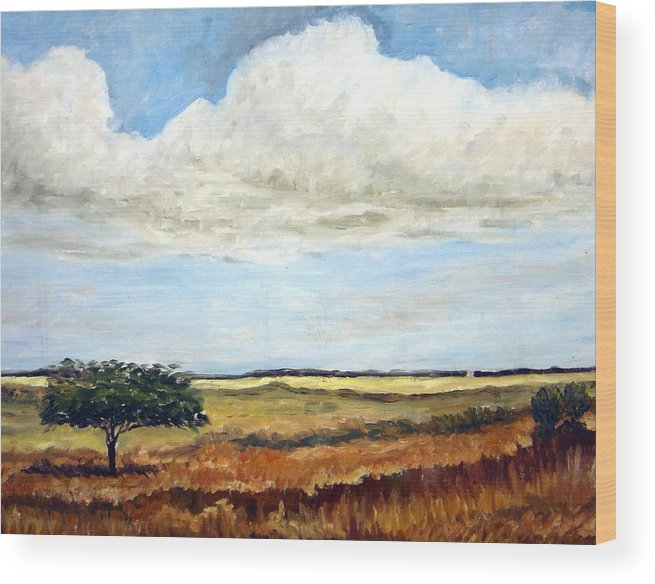 Landscape Wood Print featuring the painting Scorching Day by Ujjagar Singh Wassan