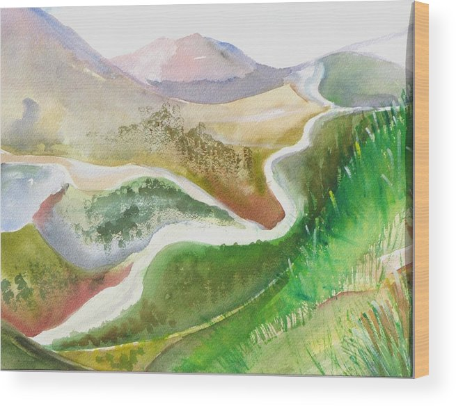 Landscape Wood Print featuring the painting Scottish Glen by Kathy Mitchell