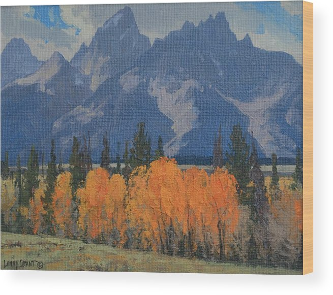 Landscape Wood Print featuring the painting September Glow by Lanny Grant