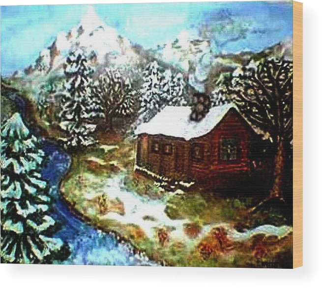 Landscape Wood Print featuring the painting Serenity Cabin by Tanna Lee M Wells