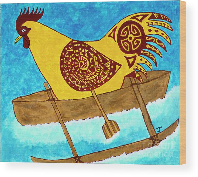 Outrigger Wood Print featuring the painting Sider Strong by Tami Maldonado