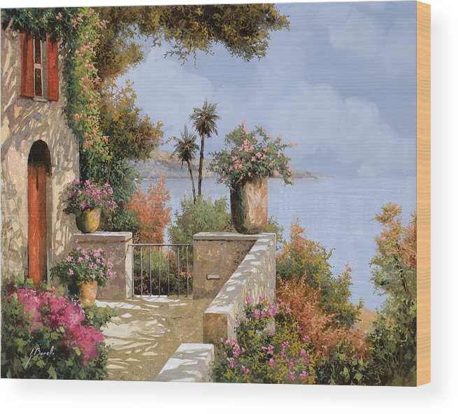 Seascape Wood Print featuring the painting Silenzio by Guido Borelli
