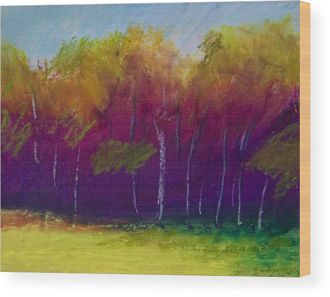 Oil Pastel Wood Print featuring the painting Simply Fall by Wynn Creasy