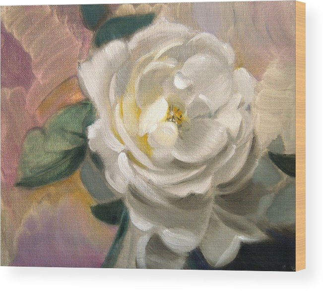 Floral Roses Wood Print featuring the painting Single Rose by Patrick McClintock