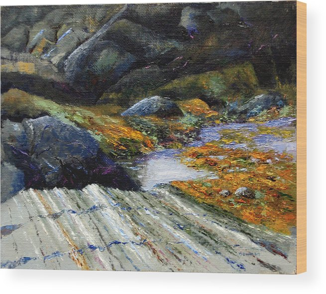 Landscape Wood Print featuring the painting Slack Tide by Bruce Newman