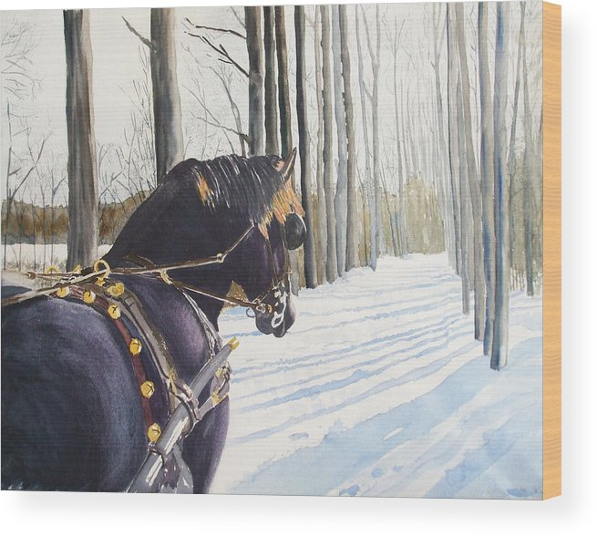 Horse Wood Print featuring the painting Sleigh Bells by Ally Benbrook