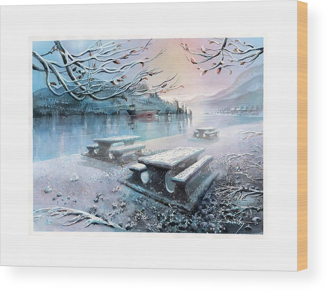 Landscape Wood Print featuring the painting Snow Blanket by Dumitru Barliga