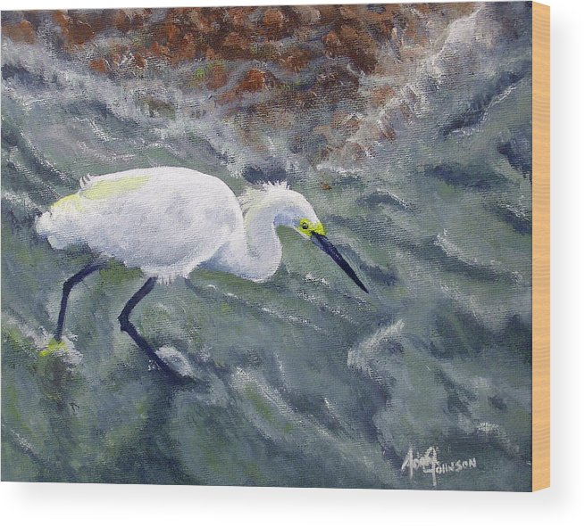 Egret Wood Print featuring the painting Snowy Egret Near Jetty Rock by Adam Johnson