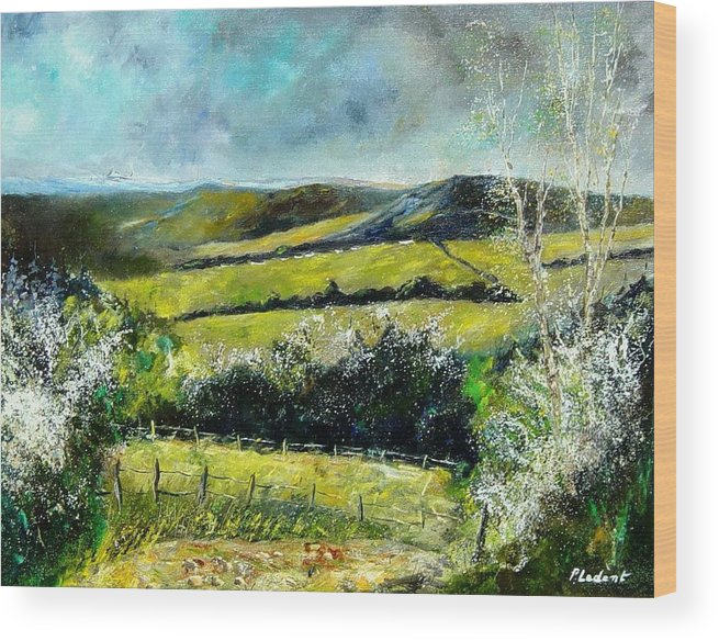 Landscape Wood Print featuring the print Spring 79 by Pol Ledent