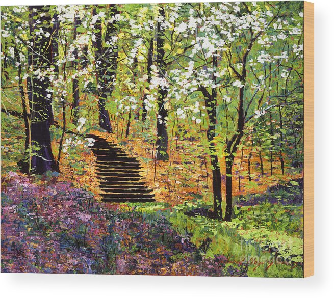 Palette Knife Wood Print featuring the painting Spring Fantasy Forest by David Lloyd Glover