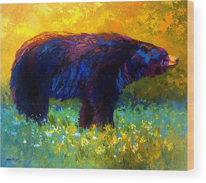 Bear Wood Print featuring the painting Spring Stroll - Black Bear by Marion Rose