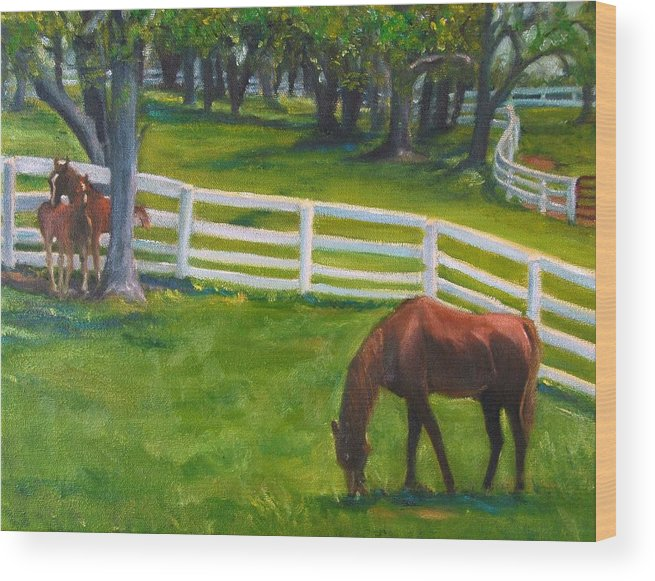 Equine Wood Print featuring the painting Springtime At Undulata by Stephanie Allison