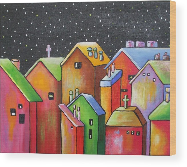 Landscape Wood Print featuring the painting Starry Night In The Little City 1 by Janet Telander