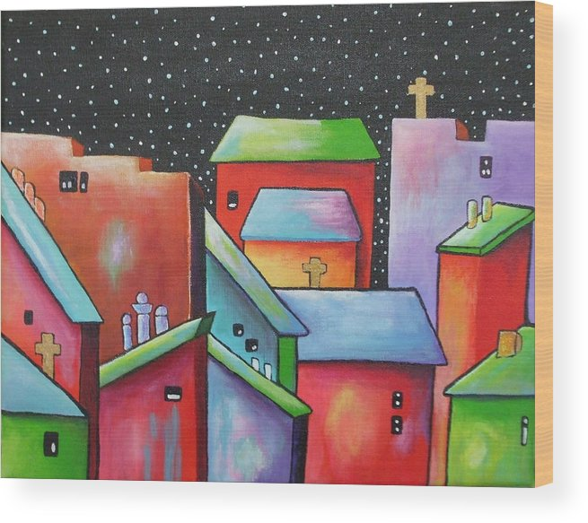 Landscape Wood Print featuring the painting Starry Night In The Little City 2 by Janet Telander