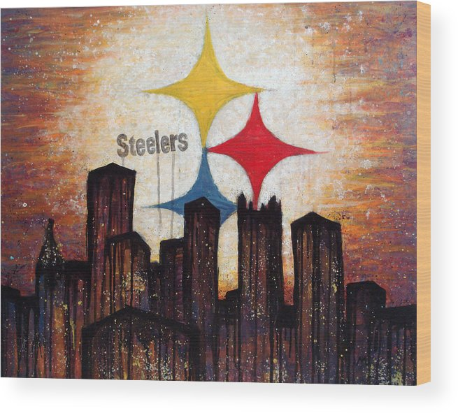Steelers Wood Print featuring the painting Steelers. by Mark M Mellon
