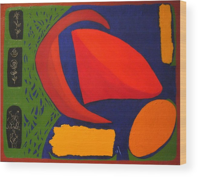 Irregular Forms; Abstract Wood Print featuring the painting Studio Number 326 by Vijayan Kannampilly