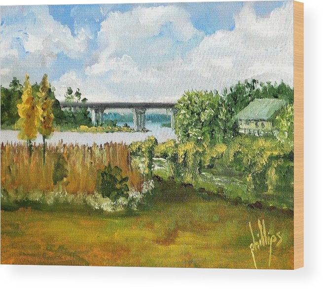 Wood Print featuring the painting Sturgeon City Park by Jim Phillips