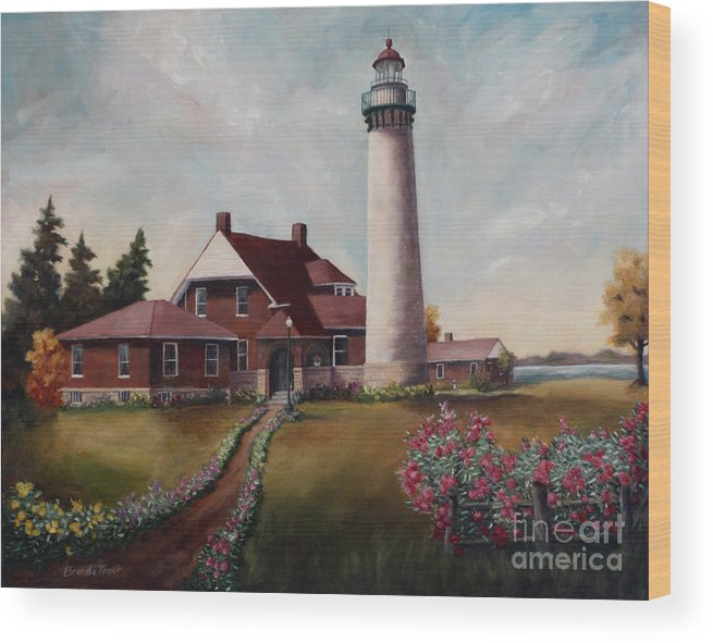 Lighthouse Nautical Building Structure Oil Painting Canvas Original Lake Michigan Flowers Wood Print featuring the painting Suel Choix Light by Brenda Thour