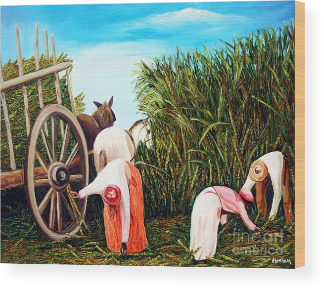 Cuban Art Wood Print featuring the painting Sugarcane Worker 1 by Jose Manuel Abraham