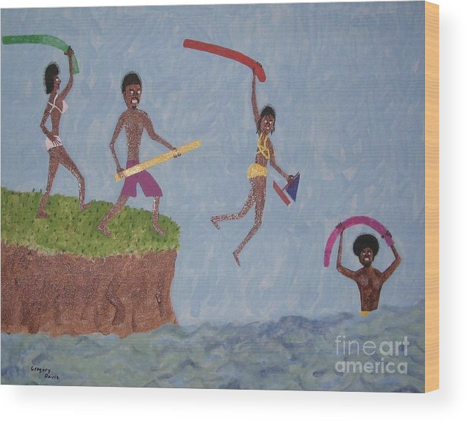 Swimming Wood Print featuring the painting Summer Time Fun by Gregory Davis