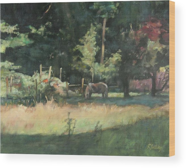Pony Wood Print featuring the painting Sunday Graze by Robert Tutsky