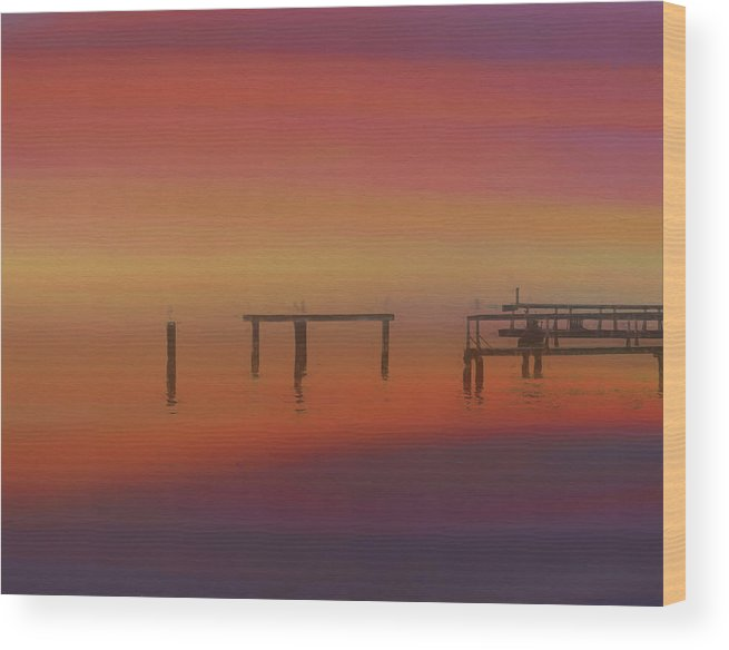 Sunset On The Dock Wood Print featuring the painting Sunset On The Dock by Dan Sproul