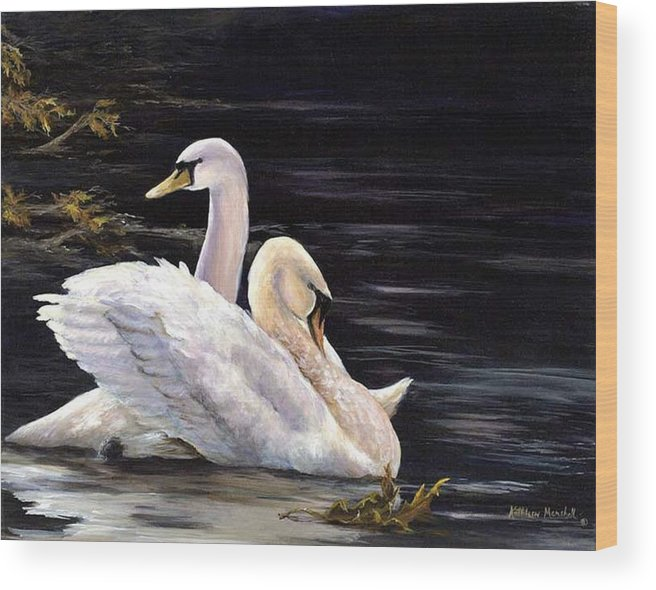 Swans Wood Print featuring the print Swansong by Kathleen Marshall McConnell