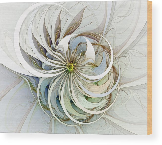 Digital Art Wood Print featuring the digital art Swirling Petals by Amanda Moore