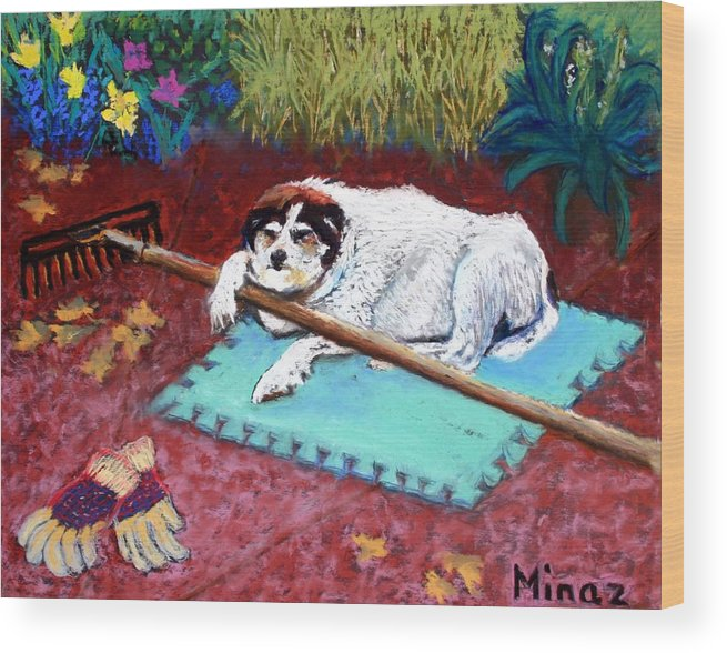 Dog Wood Print featuring the painting Take A Break by Minaz Jantz