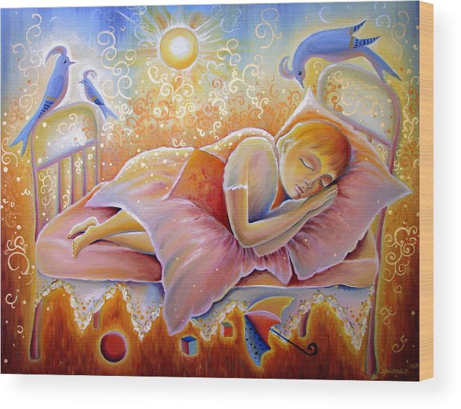 Sleeping Child Wood Print featuring the painting The Best Of Dreams by Liliya Garipova