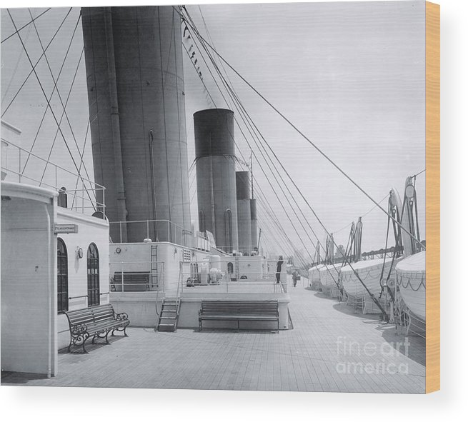 Boat Deck Wood Print featuring the photograph The Boat Deck Of The Titanic by The Titanic Project