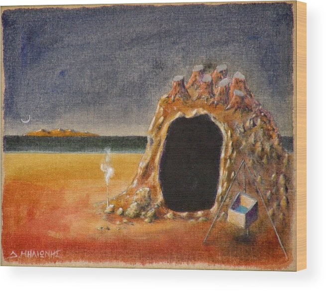 Metaphysacal Wood Print featuring the painting The Cave Of Orpheas by Dimitris Milionis