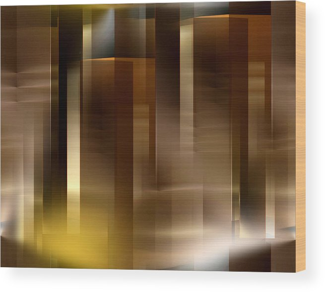 Abstract Wood Print featuring the digital art The City At Night 2 by John Krakora