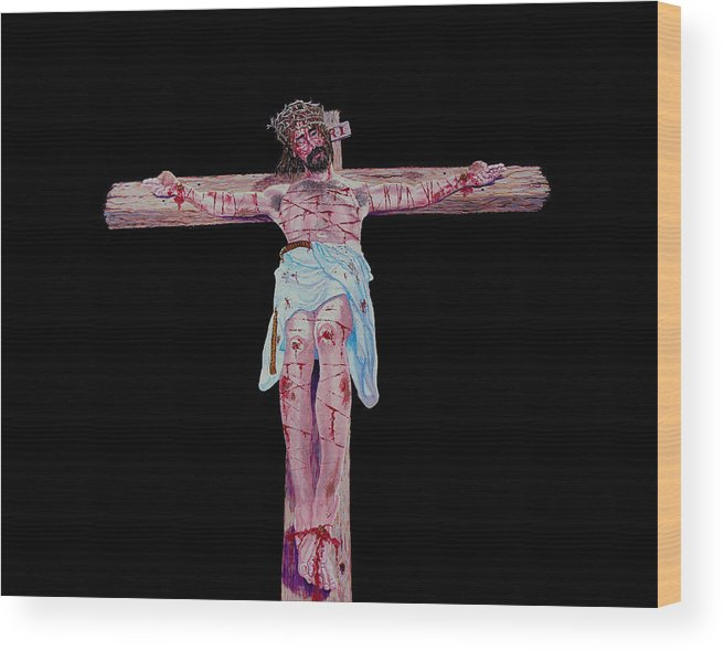 Crucifixion Wood Print featuring the painting The Cricifixion Night by Stan Hamilton