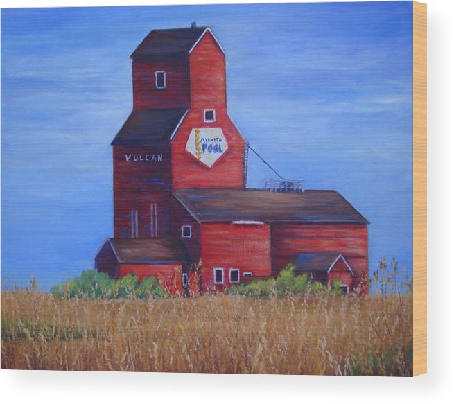 Landscape - Historical Wood Print featuring the painting The Elevator by Maxine Ouellet