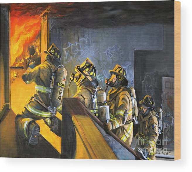 Firefighters Wood Print featuring the painting The Fire Floor by Paul Walsh