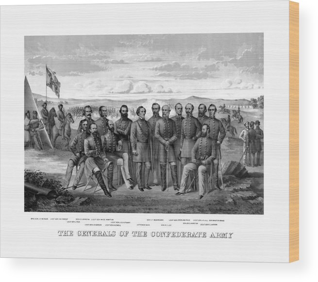 Civil War Wood Print featuring the mixed media The Generals Of The Confederate Army by War Is Hell Store