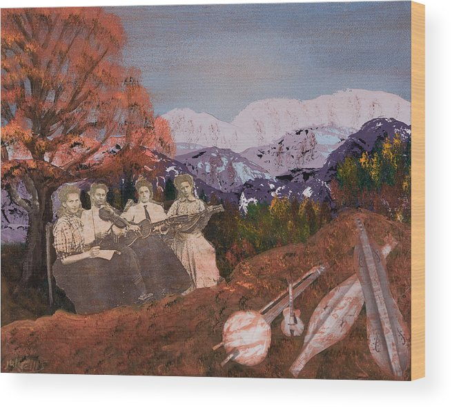 Landscapes Wood Print featuring the painting The Music Ladies by Julia Ellis