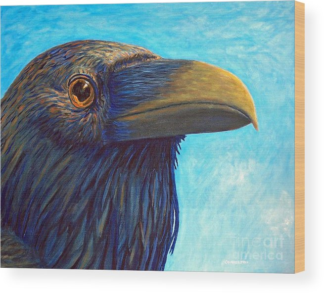 Raven Wood Print featuring the painting The Prophet by Brian Commerford