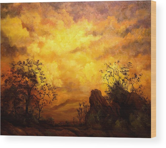 Connie Tom Wood Print featuring the painting The Secret Place Of The Most High by Connie Tom