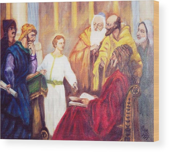 Jesus Pharisies Wood Print featuring the painting The Teacher by Gloria M Apfel