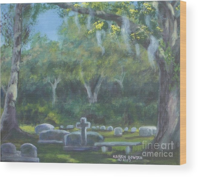 Landscape Cemetary Ghost Tree Florida Orlando Greenwood Wood Print featuring the painting The Visitor 75usd by Karen Bowden