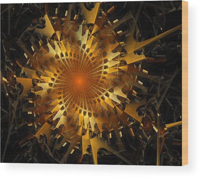 Digital Art Wood Print featuring the digital art The Wheels Of Time by Amanda Moore