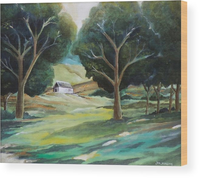 Farm Wood Print featuring the painting The White Barn by Jun Jamosmos