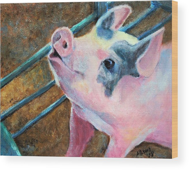Animals Wood Print featuring the painting This Little Piggy by Stephanie Allison