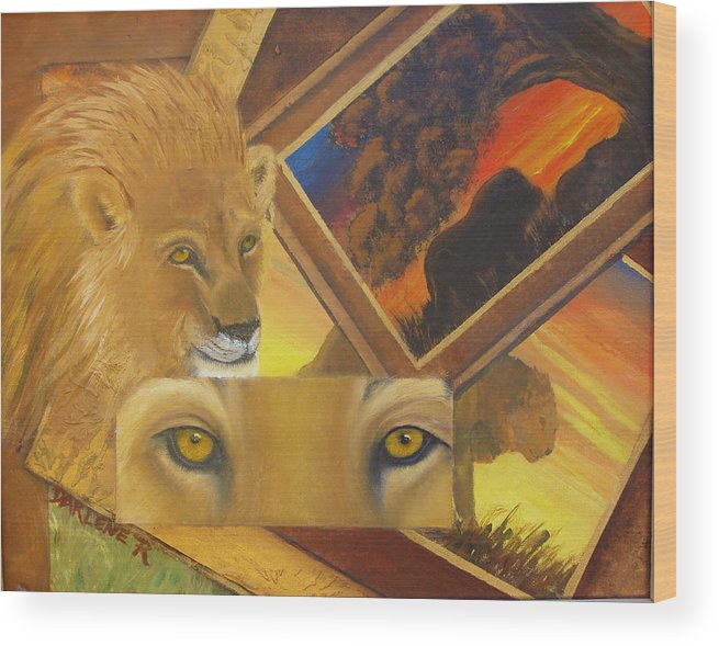 Lion Wood Print featuring the painting Those Eyes Lion by Darlene Green
