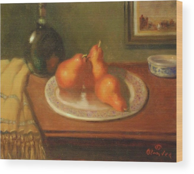 Still Life Impression Wood Print featuring the painting Three Red Pears And Cognac by David Olander