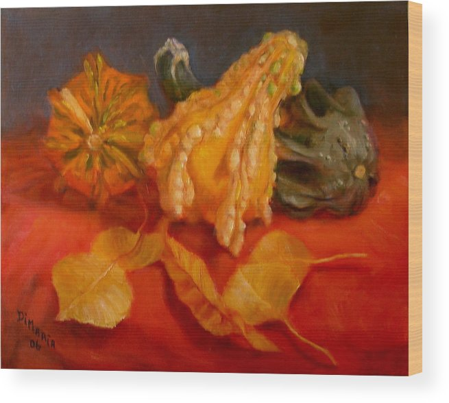 Realism Wood Print featuring the painting Three Squash by Donelli DiMaria